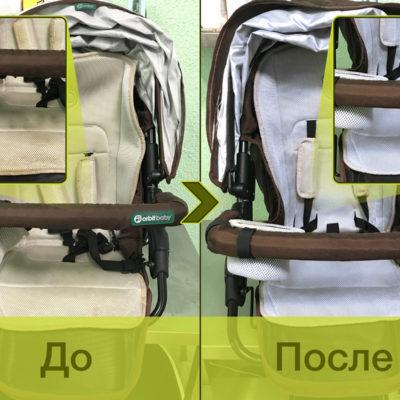 При работе с комбинированными изделиями мы используем несколько методик, обеспечивая чистоту и сохранность всех элементов коляски. Так, к тканям возвращается чистота и свежесть, а кожа сохраняет эластичность и блеск.